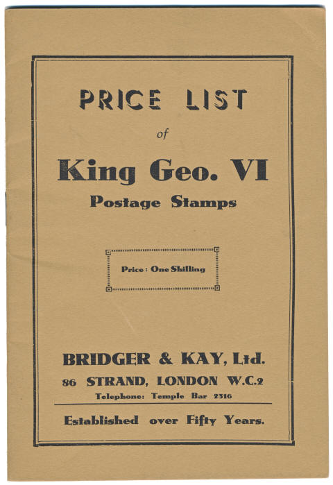 Bridger & Kay Price List 1950