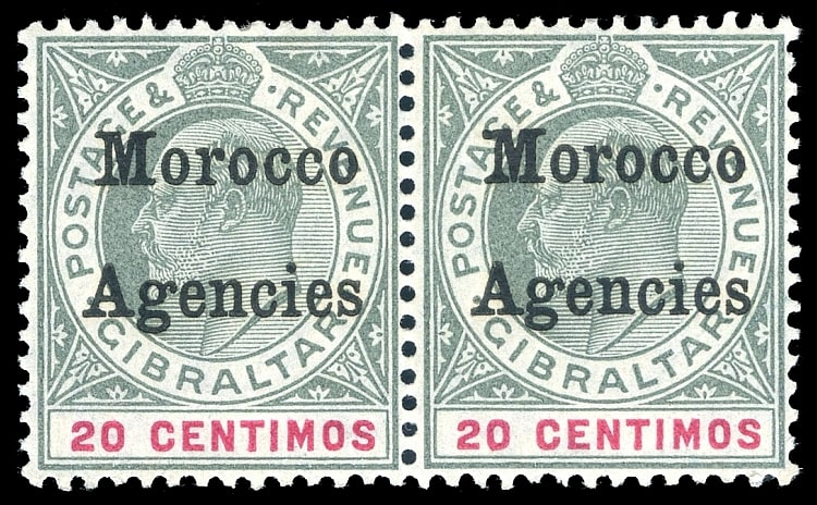MOROCCO AGENCIES - GIBRALTAR ISSUES OVPT, KEVII, SG. 26, 26b